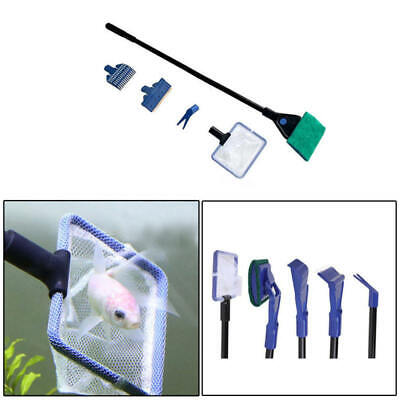Fish Tank Aquarium Cleaning Kit Glass Brush Fishnet Magnetic Cleaner Tools 5 in1