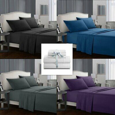 Ultra SOFT 1000TC Bed Linen Cotton Sheets Set For Single/Double/Queen/King Size