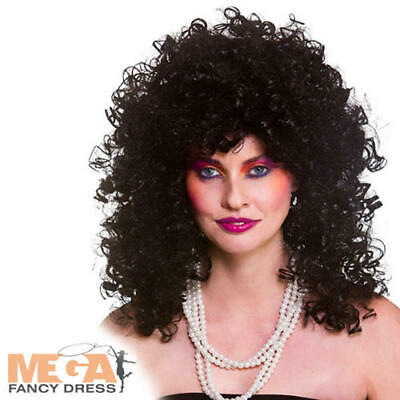 Black 80s Wild Curl Wig Ladies Fancy Dress 1980s Cher Adults Costume Accessory