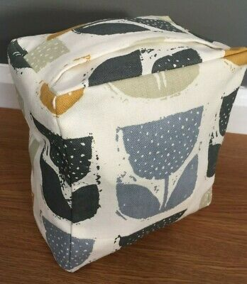 New Fabric Door Stop Mustard Saffron Yellow grey Tulip design