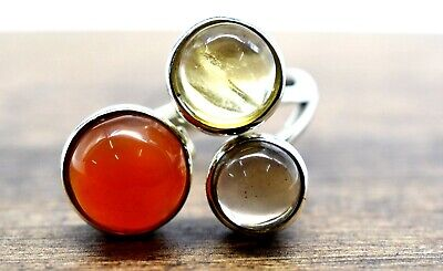 925 Sterling Silver Smoky Quartz Citrine Carnelian Gemstone 5.30 gm Ring Jewelry