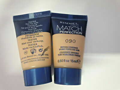 2 x Rimmel Match Perfection Foundation 090 PORCELAIN Travel/Sample Size 15ml