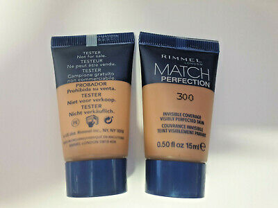 2 x Rimmel Match Perfection Foundation 300 SAND Travel/Sample Size 15ml