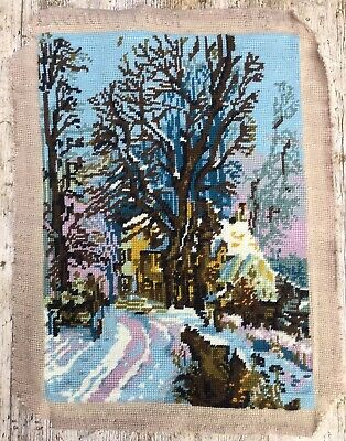 Retro Vtg Completed Tapestry Winters Evening  Country Lane, Inn & Cart