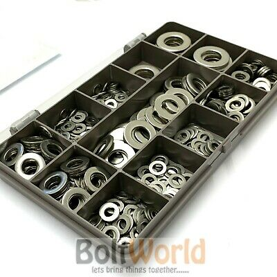 400 Assorted Piece A2 Stainless Steel M4 M5 M6 M8 M10 M12 Form A Flat Washer Kit