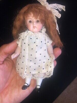 "Early Antique 6"" All Bisque German Kestner Doll Brown Glass Eyes Original Outfit"