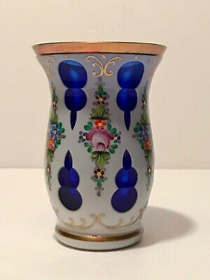 Vintage Moser Bohemian Czech Art Glass Cased Cut Vase Cobalt Blue W/ Enamel Gold