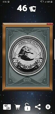 Topps Star Wars Card Trader SWCT BRONZE GILDED MINT PRESS JABBA THE HUTT 3cc