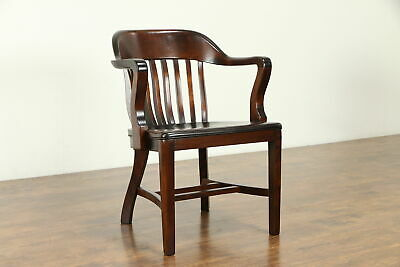 Banker, Library or Office Antique 1925 Chair with Arms, Sikes NY #31563