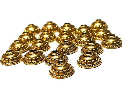 30 Antique Gold Tibetan Style 10mm Round Bead Caps Jewellery Making Findings