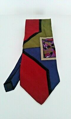"Ties Necktie Multicolor Mens Abstract Bugatti 100% Italian Silk 58"" x 3 3/4"""