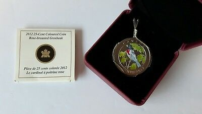 Canada 2012 25 Cent Colored Coin Rose-Breasted Grosbeak Necklace Setting
