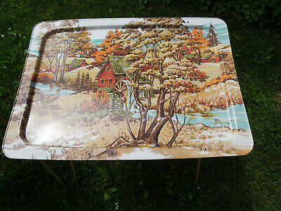 Vtg Nice Set of 2 tin Metal Folding Table TV Snack Tray w Country Mills Scene