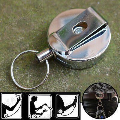 1Pcs Retractable stainless Steel Rope Key Chain Recoil Keyring Belt Clip Holder