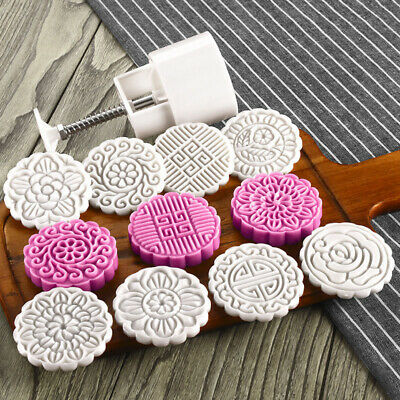 US Moon Cake Pastry Mold Hand Pressure With  8 stamps DIY Pastry Cookie Tools