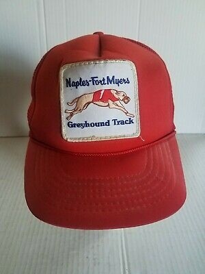 Vtg. Naples Fort Myers Greyhound Dog Racing FL Race Track Snapback Trucker Hat