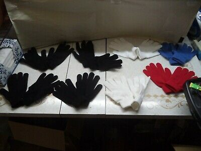 8 Ladies Magic Gloves 2 White 4 Black 1 Blue 1 Red Poly/Cotton Size S to M NIP
