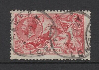 GB KGV 5s. Rose-Red SG416 SEAHORSES George V 1919 Very Good Used 5/- Stamp