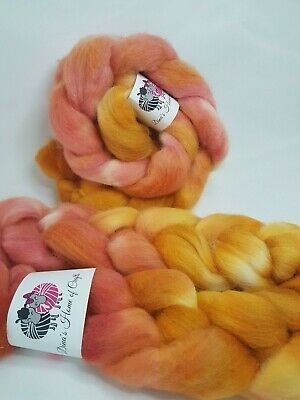 Hand dyed Jacob roving, wool top, 100 g, GOLDEN ROSE
