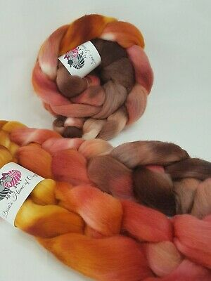 Hand dyed Merino roving, wool top, 100 g, AFRICAN SUNSET