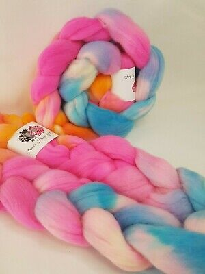 Hand dyed Merino roving, wool top, 100 g, CANDY FLOSS