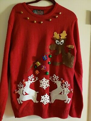 Women's Ugly Christmas Sweater Red L Pull Over Crew Neck Bells Presents Cotton