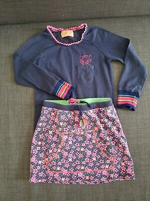 Mim-Pi set long sleeve top and skirt in heart print an kitty pre-owned 4T