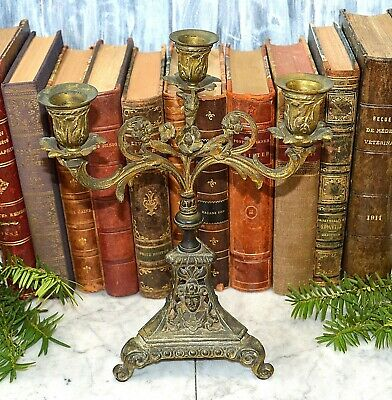 Antique French Bronze Ormolu Small Figural Female Candelabra 3 Arm Candle Holder