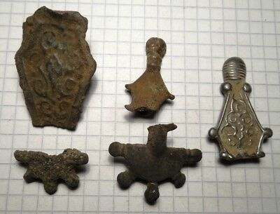 Viking period 5 pieces of bronze fibula brooches for restoration