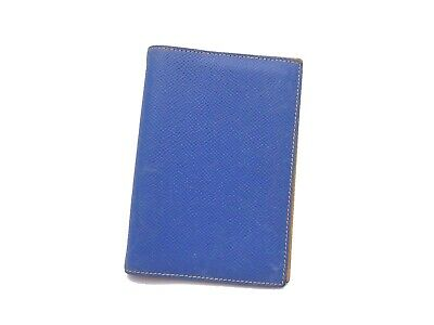 Auth HERMES Square A (1997) Note/Agenda Cover Blue/Yellow Leather - e41565