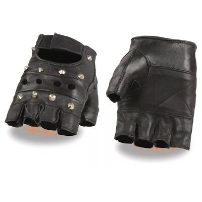 New-Genuine-Leather-Black-Leather-Fingerless-Mens-Studded-Gloves M-L-XL  New-Gen