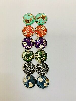 6 Pairs Of 12mm Glass Cabochons #989