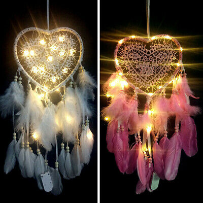 Dream Catcher LED Heart Feathers Handmade Night Light Wall Hanging Decor Room