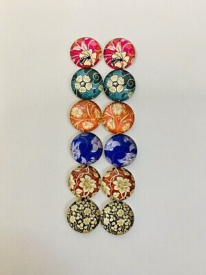 6 Pairs Of 12mm Glass Cabochons #595