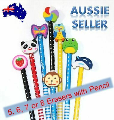 Animal Eraser & Pencil Kids Novelty Erasers with HB Pencil Art Drawing Writing