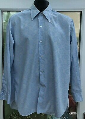 Vintage 70s Baby Blue Paisley Formal Funky Disco Shirt Large XL Polyester Cotton