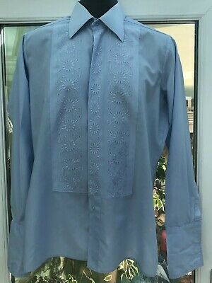 Vintage 1970s Baby Blue Embroidered Tuxedo Formal Disco Cufflink Shirt Large