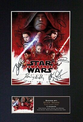 #719 Star Wars The Last Jedi Reproduction Autograph Mounted Signed Photograph A4