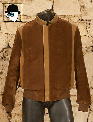 VINTAGE 70s SYNTHETIC SUEDE BLOUSON JACKET - MEDIUM - (Q)