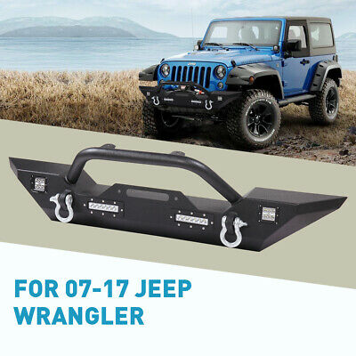 Front Bumper with Built-in LED Lights & D-Rings Fit For Jeep Wrangler 07-18 JK