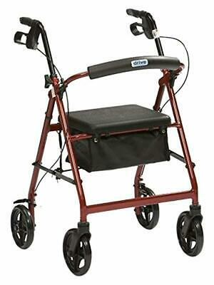 Drive Aluminium Rollator Red Padded Seat Under Chair Bag Outdoor Walker Activity