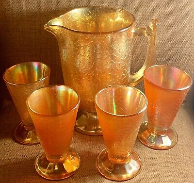 Lemonade Set Early Marigold Iridescent Lustre Jug & Glasses X4 - Very Rare!!