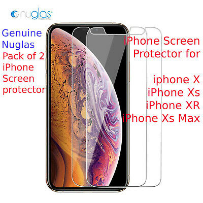 iPhone X, Xs,  XS MAX,  XR - NUGLAS Tempered Glass Screen Protector (PACK of 2)