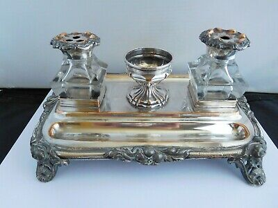 Lovely Georgian Silver Plated Large Inkstand