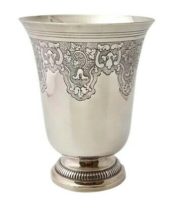 """Large French Antique Sterling Silver Wine Cup Beaker """"Timbale"""" 145 grams"""