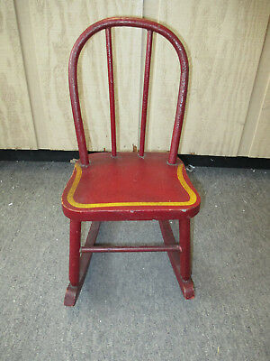 "ROCKING CHAIR Child Doll Size Original Red Paint 18.5"" Tall"