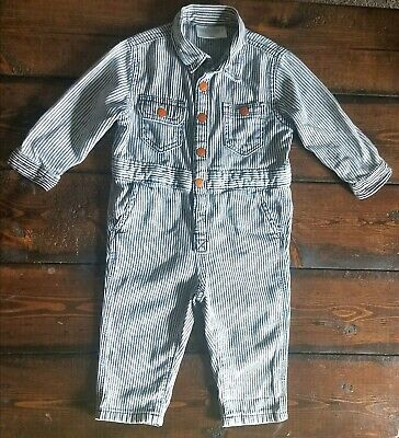 GYMBOREE onepiece~baby boy 12-18 months~striped~blue&white~long sleeve~overalls~
