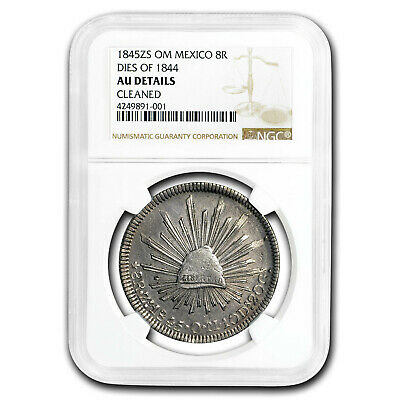 1845-Zs OM Mexico 8 Reales AU Details NGC (Cleaned) - SKU#196516