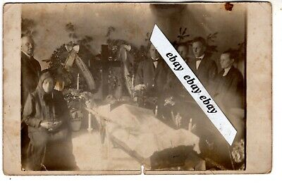 early 1900 MAN POST MORTEM OPEN COFFIN , CANDLES, PEOPLE , VINTAGE ANTIQUE PHOTO