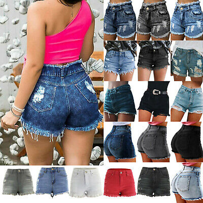 Ladies Girls Distressed Ripped Basic Denim Shorts Jeans Skinny Stretch Hot Pants